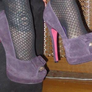 253b4c238963 Miss Me Shoes - NEW Purple Suede Peep Toe Bow Platform Heels 6